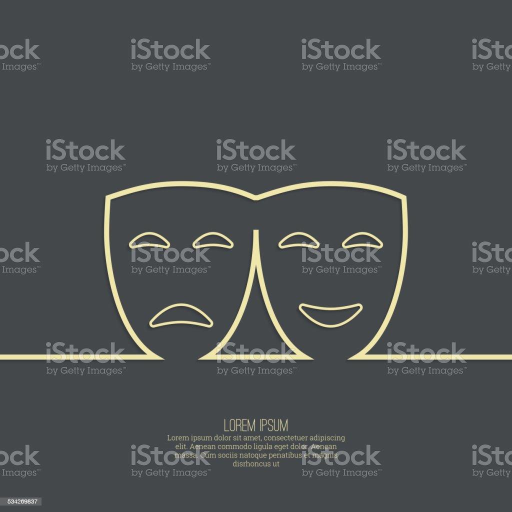 Comic and tragic theatrical mask - ilustración de arte vectorial
