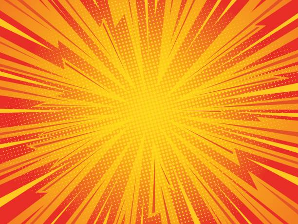 comic background Pop art comic background lightning blast halftone dots. Cartoon Vector Illustration on red thunderstorm stock illustrations