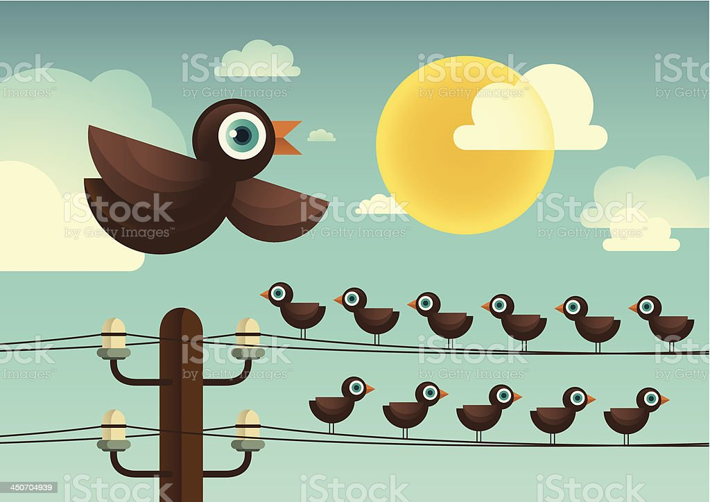 Comic birds. royalty-free stock vector art