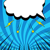 Comic blue concept with blank white speech bubble yellow stars lightnings halftone radial and rays humor effects. Vector illustration
