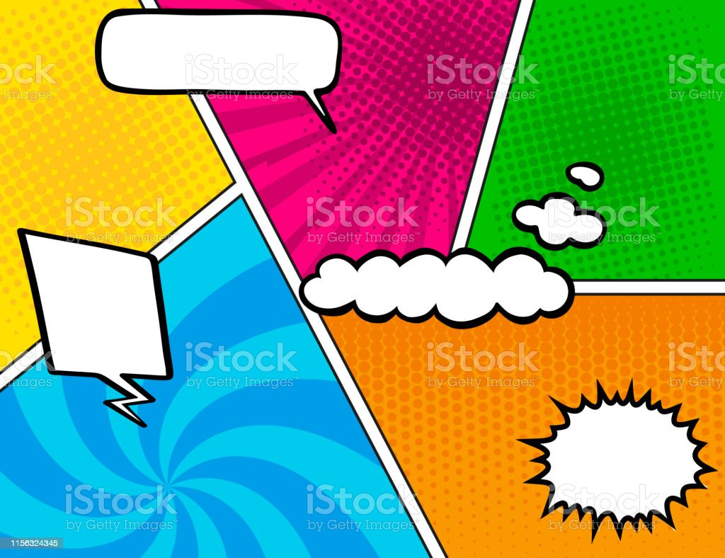 Comic Book Background Blank White Speech Bubbles Of Different Shapes
