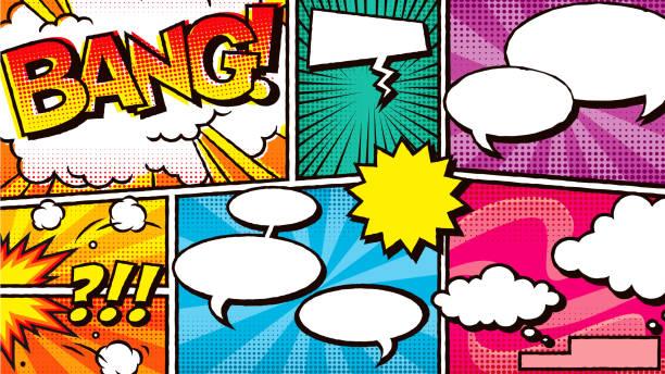 ilustraciones, imágenes clip art, dibujos animados e iconos de stock de fondo del cómic - font