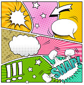 Comic book background. Mock-up of strip book page with speech bubbles, sounds and colored halftone effects. Pop-art style