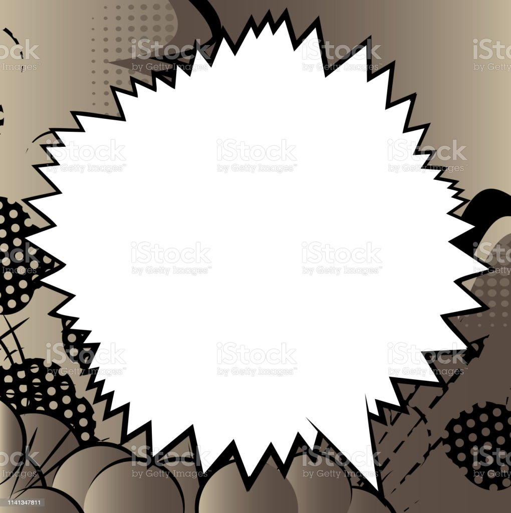 Comic Book Background With Big Blank Speech Bubble Stock