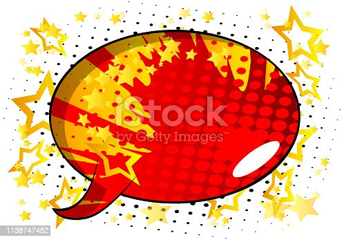 Vector illustrated retro comic book background with big colorful speech bubble, pop art vintage style backdrop.