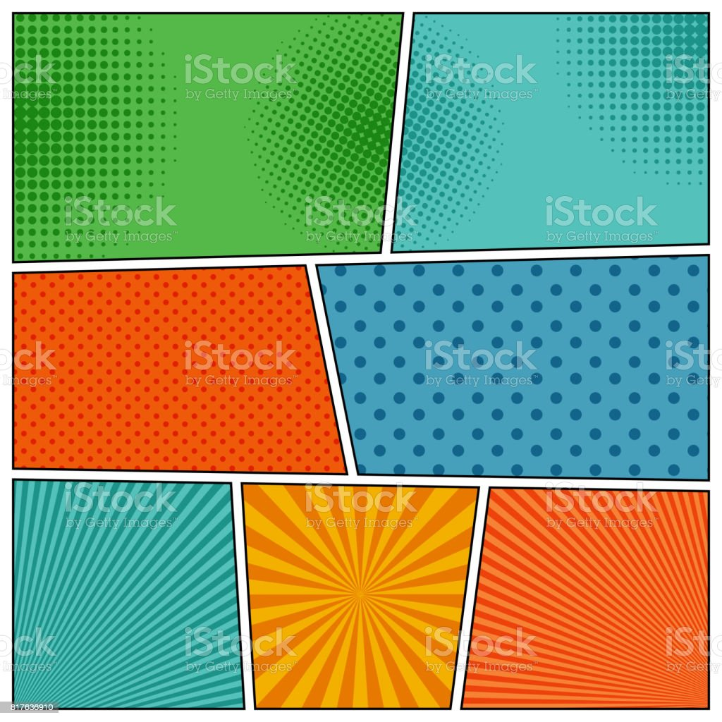 Comic Book Backgrounds In Different Colors Stock Vector Art & More ...