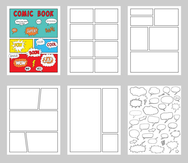 comic book blanks set, text speech bubbles , comic magazine cover template, strip page mock up - журнал комиксов stock illustrations