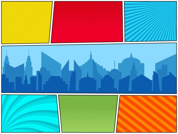 漫画本明るい水平なテンプレート - 漫画の風景点のイラスト素材/クリップアート素材/マンガ素材/アイコン素材