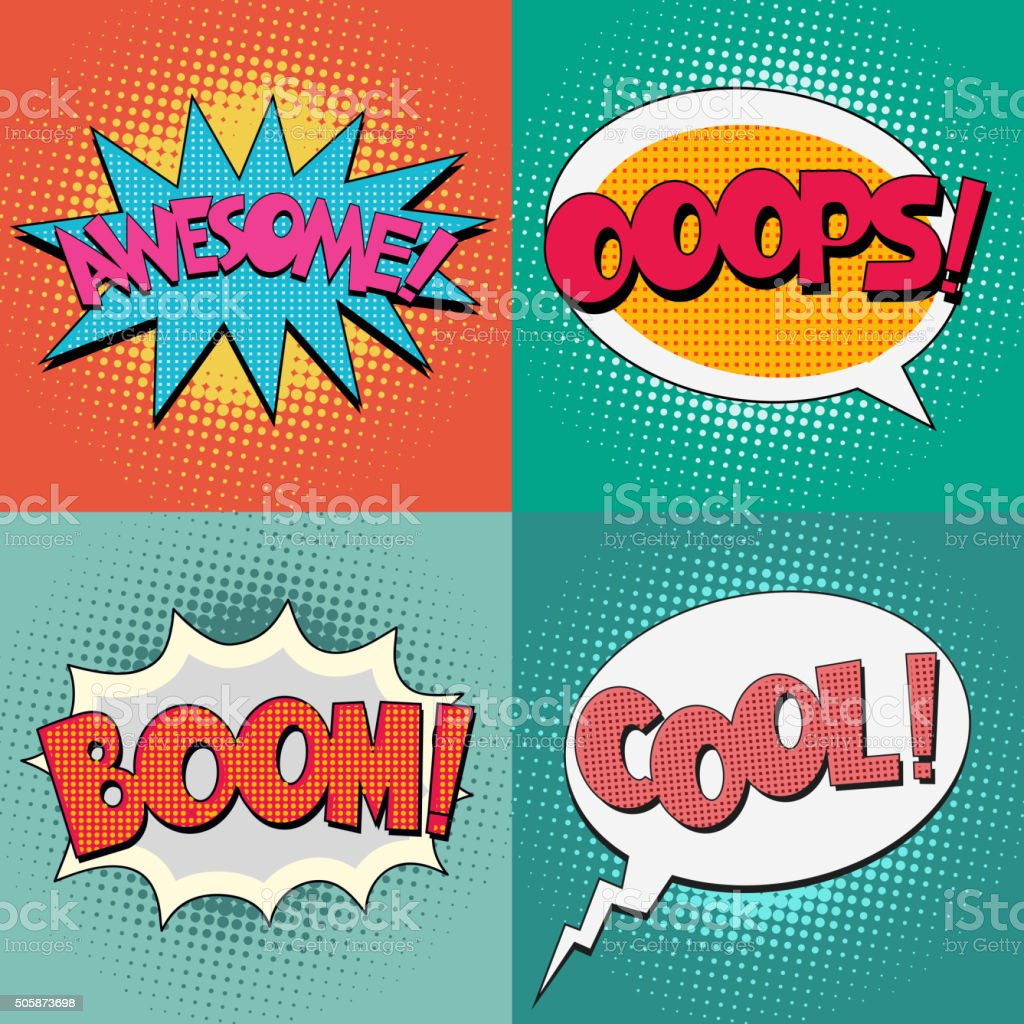 Comic Book Bubble Text vector art illustration