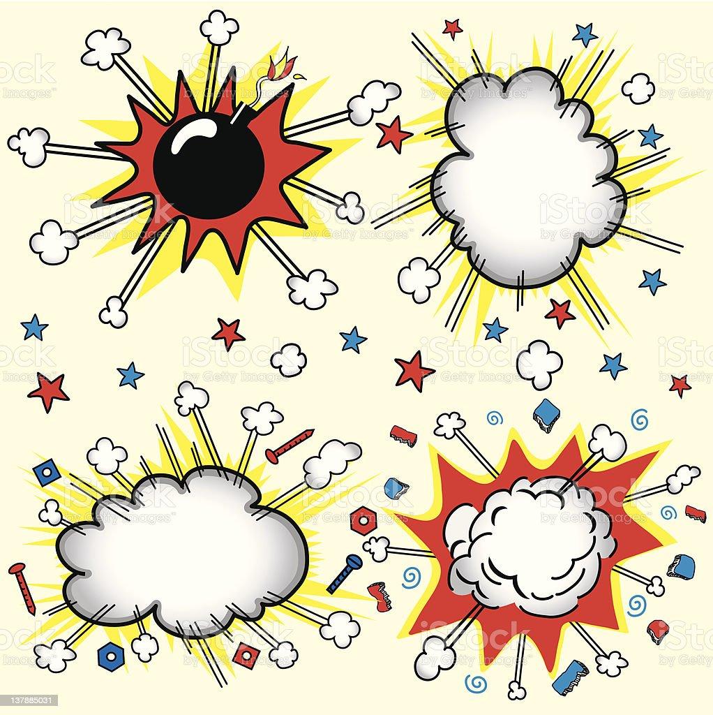 Comic Book cloud bursts royalty-free stock vector art