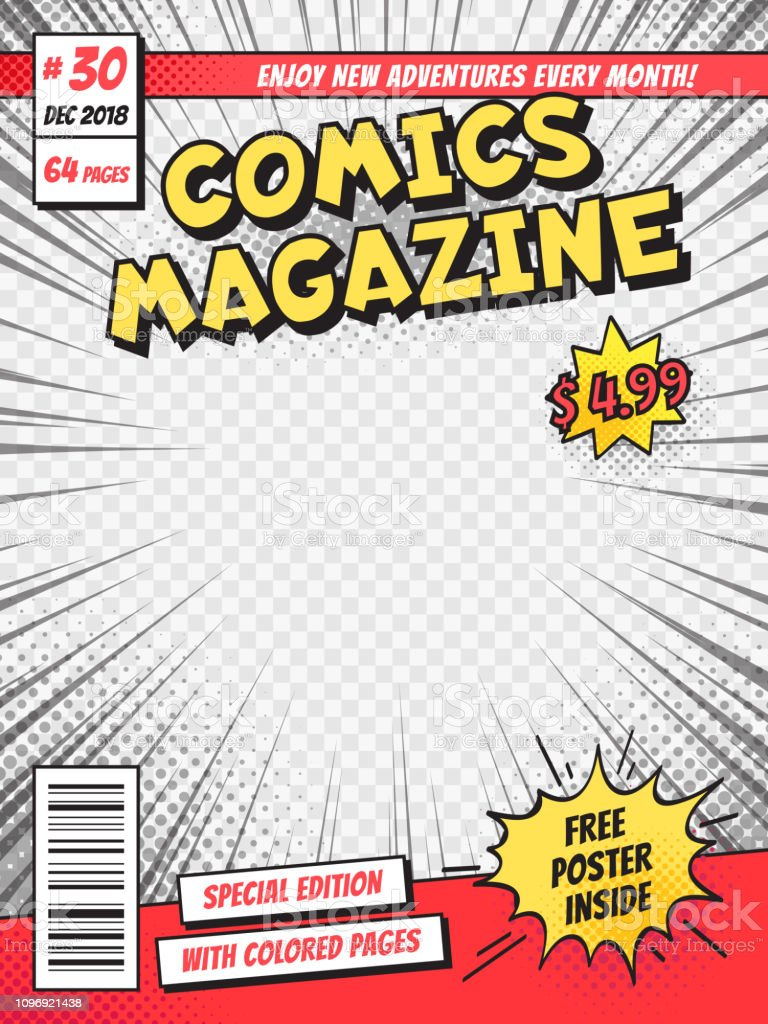 Comic book cover. Comics books title page, funny superhero magazine...