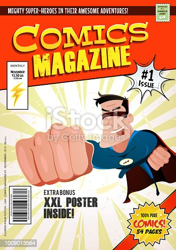 Illustration of a cartoon editable comic book cover template, with super hero character flying, titles and subtitles to customize, and wrong bar code and label