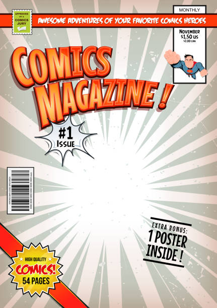 comic book cover template - comic book stock illustrations, clip art, cartoons, & icons