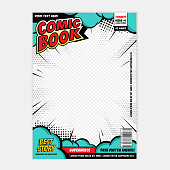 Editable comic book cover with abstract explosion background