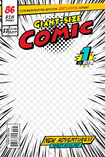 comic book cover. vector illustration style cartoon. - comic book stock illustrations