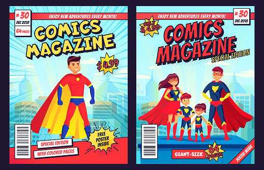 Comic book cover with super hero man and family characters. Retro magazine editable front page template