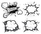 set of comic book efect explosion