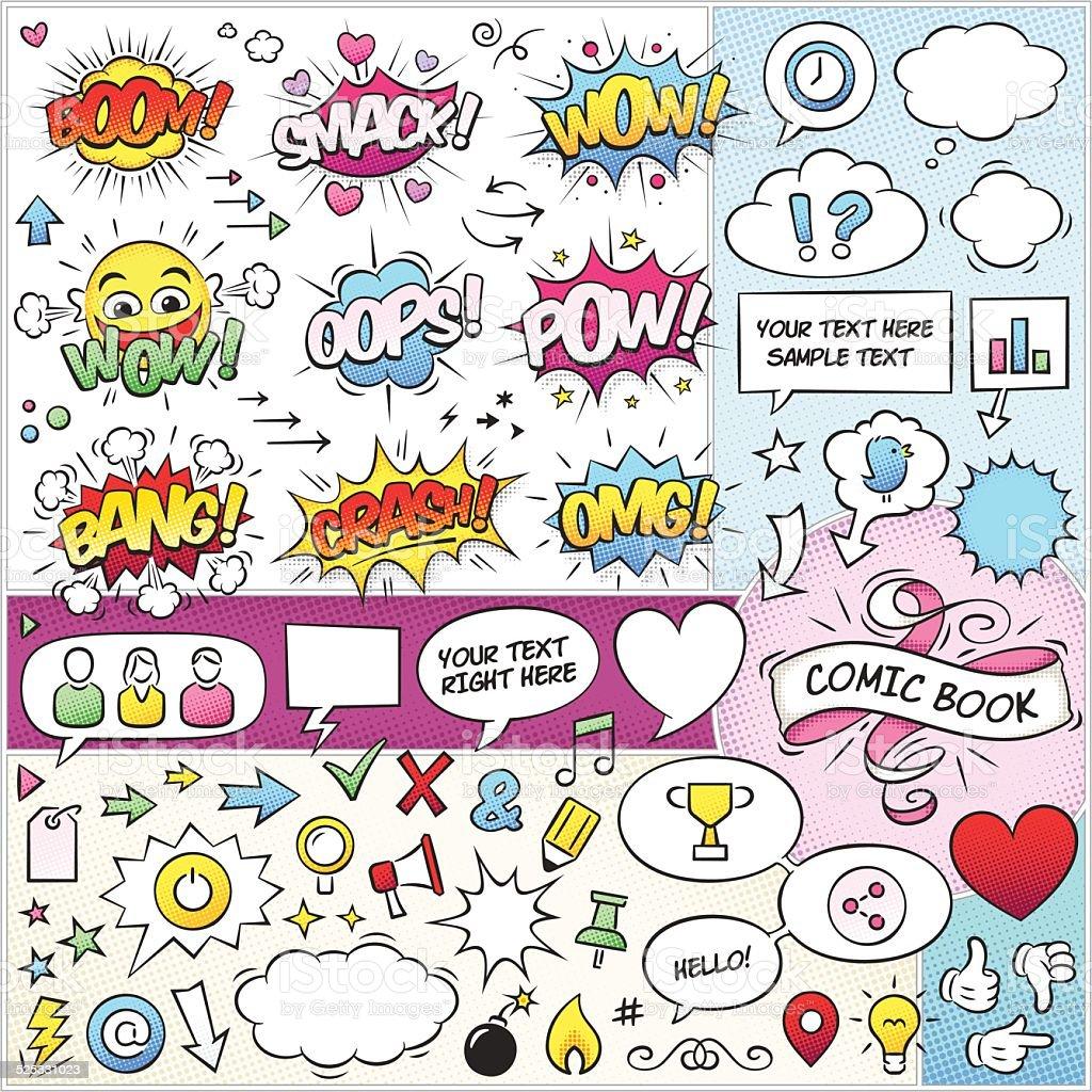 コミックブックの要素のベクトルパック ベクターアートイラスト