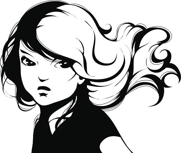 Comic book girl vector art illustration