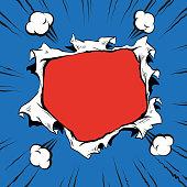 Comic book hole explosion, hand drawn vector illustration