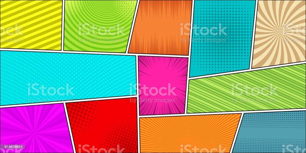 Comic book horizontal bright background vector art illustration
