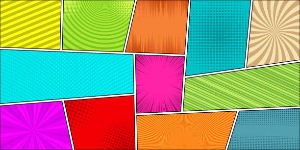comic book horizontal bright background - журнал комиксов stock illustrations