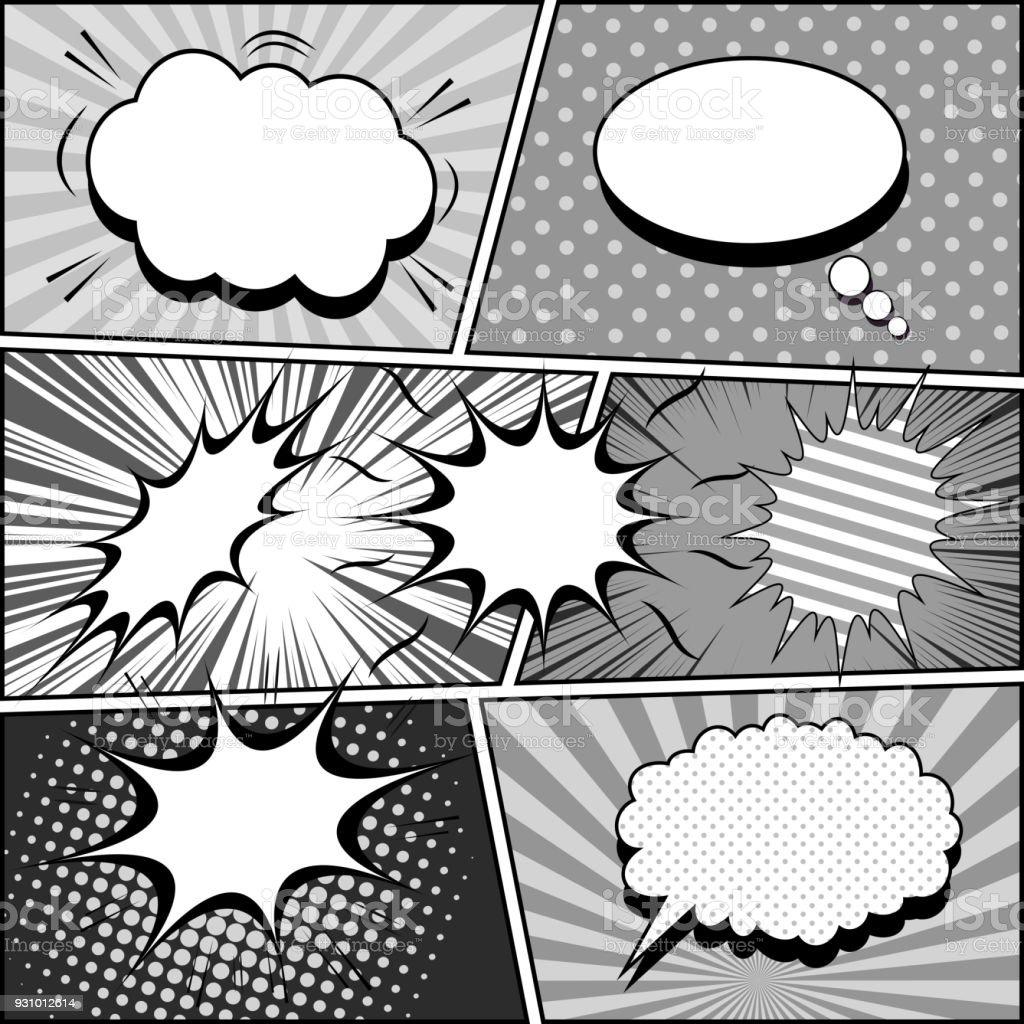漫画白黒ヴィンテージ組成 ベクターアートイラスト