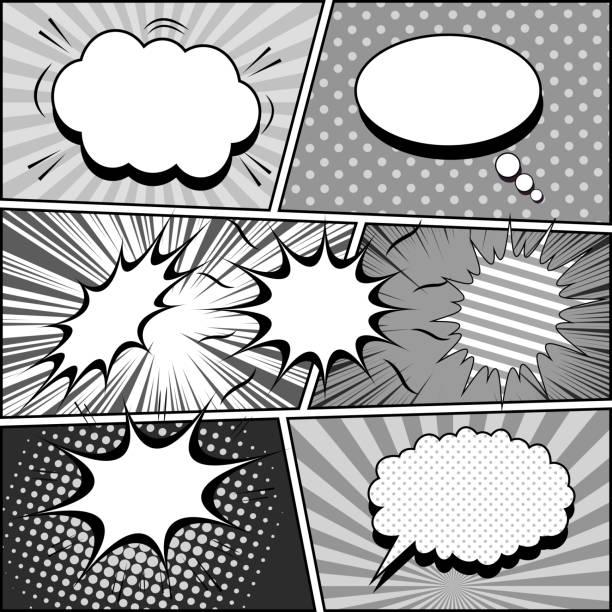 漫画白黒ヴィンテージ組成 - 漫画の風景点のイラスト素材/クリップアート素材/マンガ素材/アイコン素材