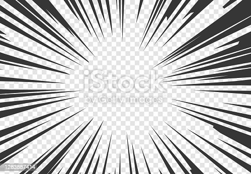istock Comic book motion effect. Black pop art rays on transparent background. Bomb explosion or high speed mockup. Cartoon template for manga and graphic illustration. Vector outward beams 1283887414