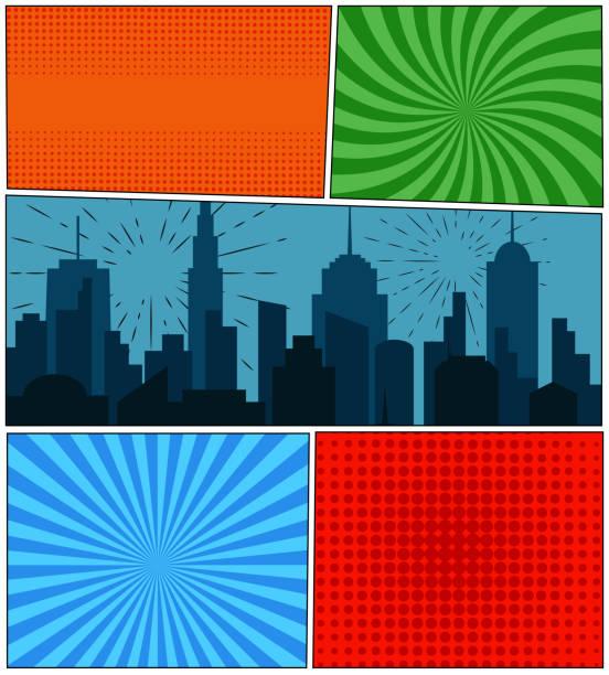 漫画本のページの背景 - 漫画の風景点のイラスト素材/クリップアート素材/マンガ素材/アイコン素材