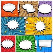 Comic book page bright template with white speech bubbles and clouds stars exclamation points sound halftone and radial effects in pop-art style. Vector illustration