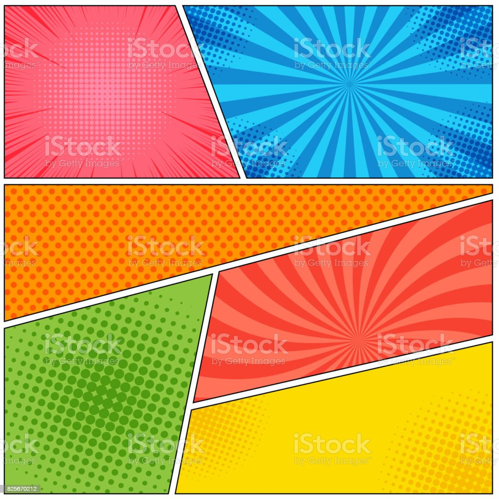 Comic book page colorful abstract template vector art illustration