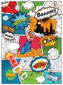 istock Comic book page divided by lines. Retro background mock-up. 532336256