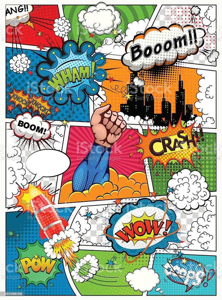 Bекторная иллюстрация Комикс стр. разделенное на линии. Ретро-фон-стойкой.