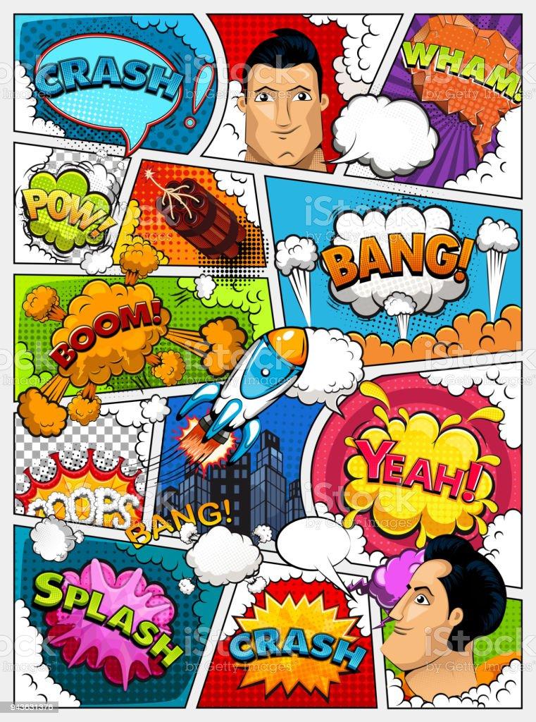 Mise en page de bande dessinée. Modèle de bandes dessinées. Maquette de fond rétro. Divisé par des lignes avec effet bulles, ville, fusée, super-héros et des sons de parole. Illustration vectorielle - Illustration vectorielle