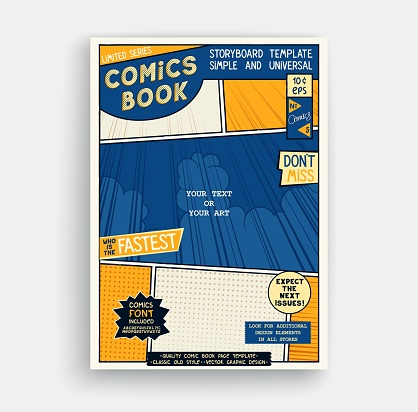 Comic book page template. Classic storyboard artwork. Comics magazine cover. Vector graphics