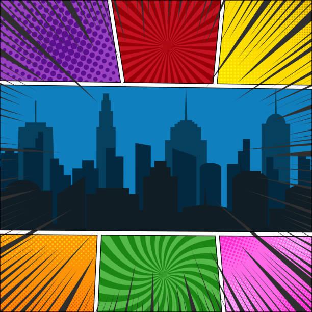 コミック ページ テンプレート - 漫画の風景点のイラスト素材/クリップアート素材/マンガ素材/アイコン素材