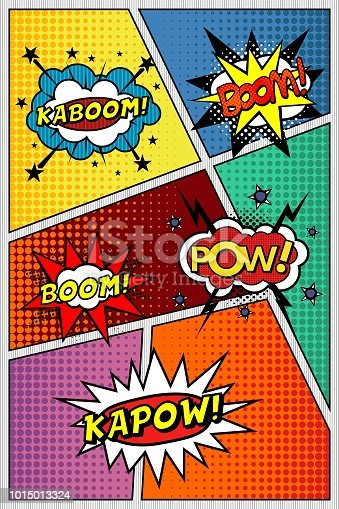 istock Comic book page. Template with sound effects, KAPOW, POW, KABOOM, BOOM! 1015013324