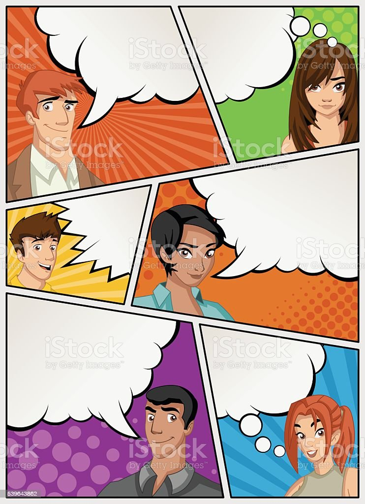 Comic book page with people talking. Comic strip background with...
