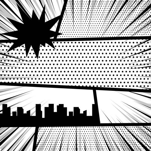 コミック ポップアート モノクロ モックアップ - 漫画の風景点のイラスト素材/クリップアート素材/マンガ素材/アイコン素材