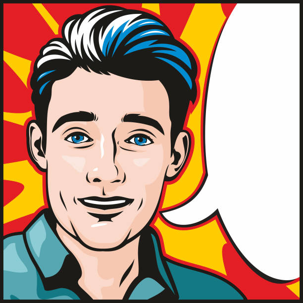 Comic book pop art style man with speech bubble vector art illustration