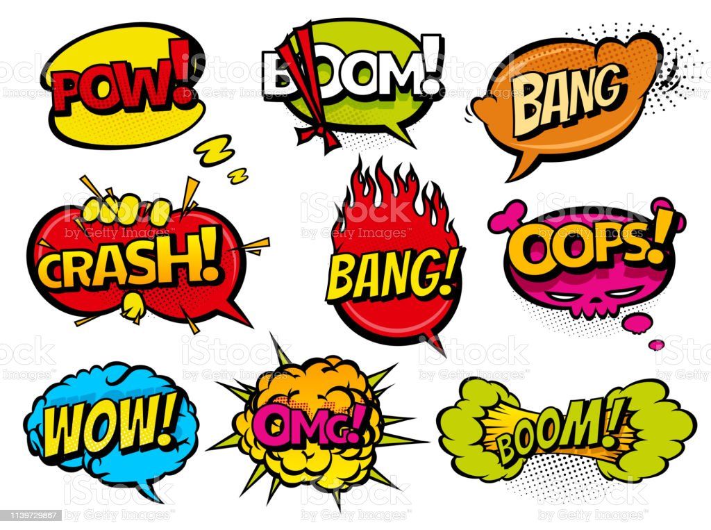 Comic Book Sound Effect Speech Bubbles Expressions Collection Vector