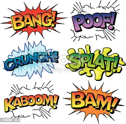 Comic Book Sound Effects Icon Set Stock Vector Art Amp More