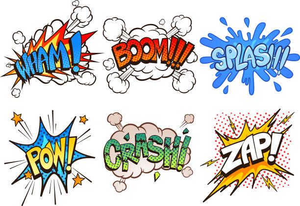 illustrations, cliparts, dessins animés et icônes de effets sonores de bande dessinée - effets sonores