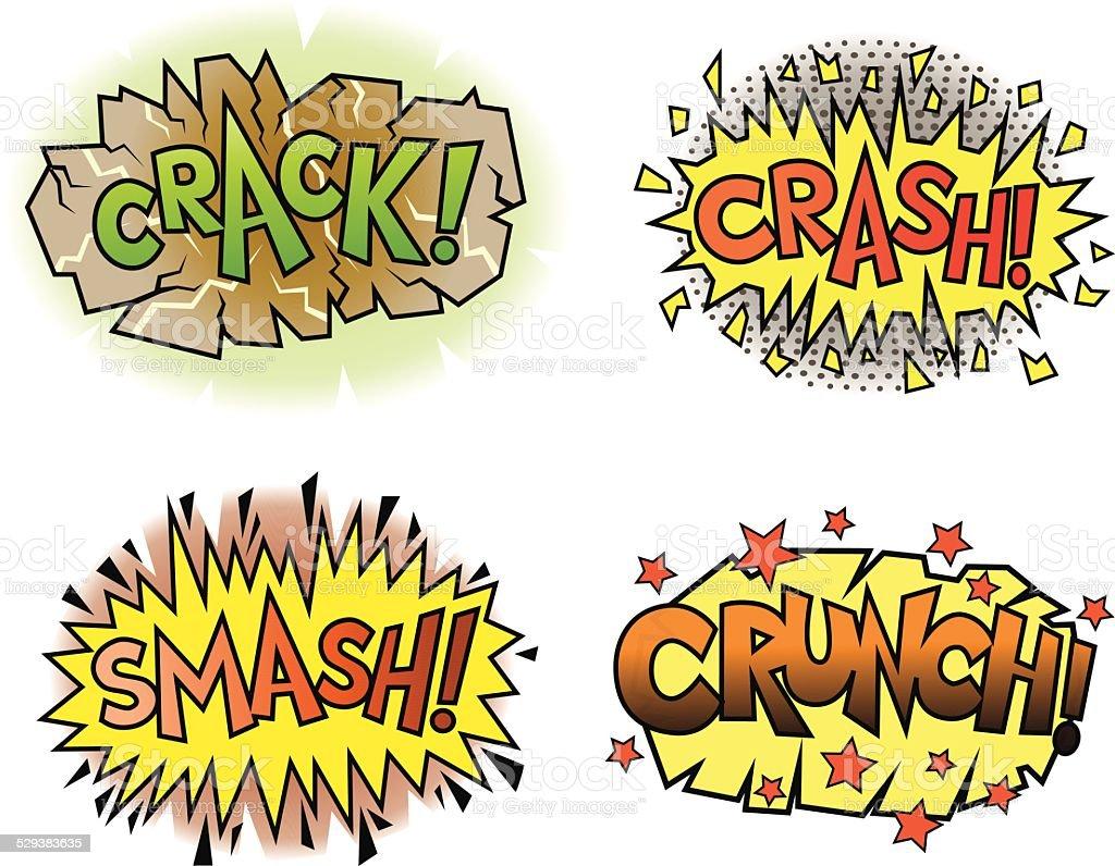 Comic Book Sounds Set vector art illustration