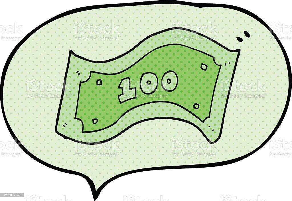 comic book speech bubble cartoon 100 dollar bill stock vector art rh istockphoto com  canadian 100 dollar bill vector