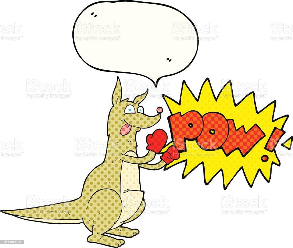 comic book speech bubble cartoon boxing kangaroo vector art illustration