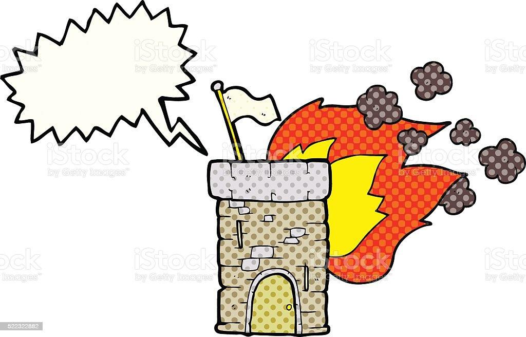Livro De Banda Desenhada Discurso Balao De Desenhos Animados Torre De Castelo De Queimadura Arte Vetorial De Stock E Mais Imagens De Balao De Fala Istock