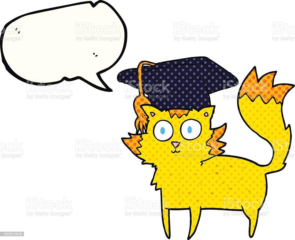 Comicbuch Rede Sprechblasenkarikatur Katze Absolventen Vektor