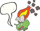 comic book speech bubble cartoon fly crashing and burning